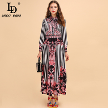 LD LINDA DELLA Fashion Runway Autumn Maxi Dress Women's Long Sleeve Bowknot Striped Printed High Waist Elegant Vintage Dresses цены
