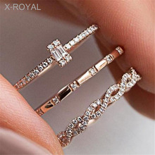 X-ROYAL 3Pcs/set New Trendy Crystal Zircon Finger Knuckle Rings European Creative Women Wedding Party Anniversary Luxury