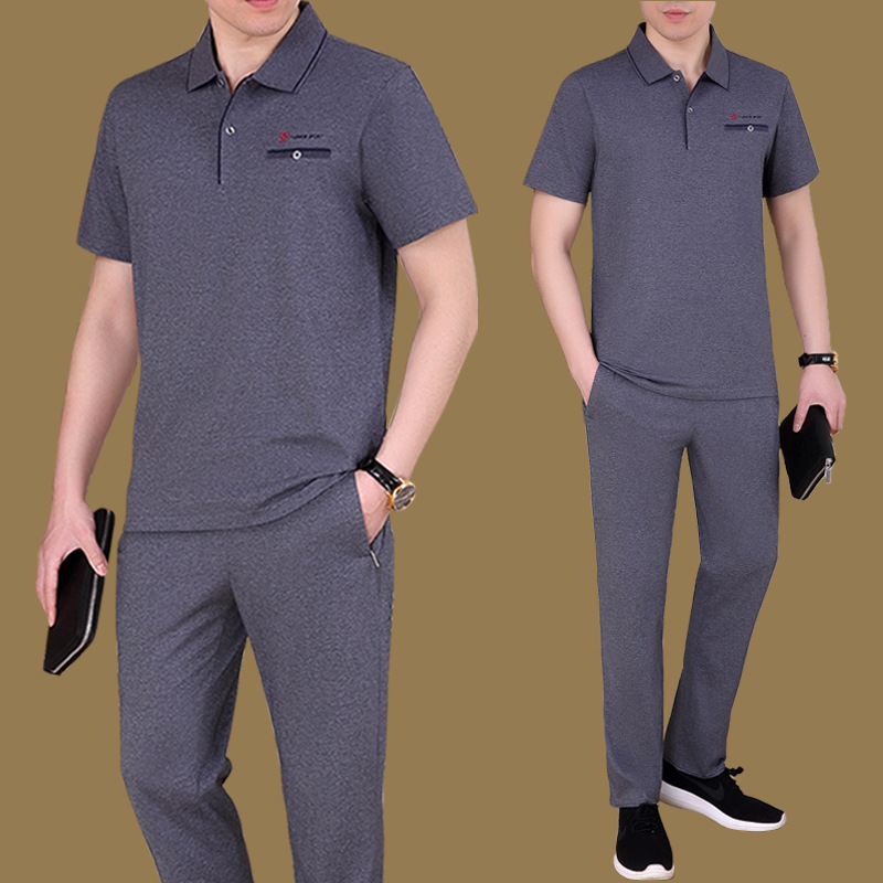 Middle-aged Sports Set Men Summer Short-sleeved Trousers Middle-aged Father Casual Sports Clothing Daddy Clothes Thin