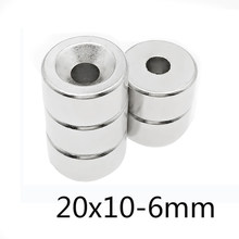 5/10/20pcs trong Cylinder Rare Earth Countersunk Magnet 20x10 mm Hole 6mm Round Neodymium Magnetic Magnets N35 20*10-6mm