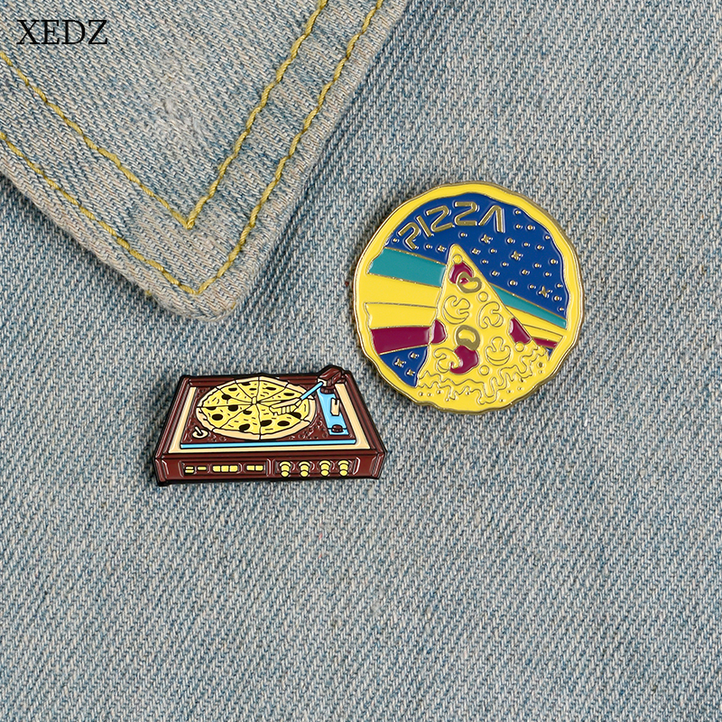 XEDZ Hot New Pizza Tower Making Recipe Fashion Personality Food Fast Food Magic Pizza Brooch Denim Pendant Jewelry Gift image