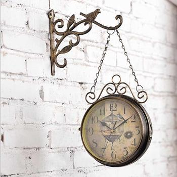 AAA Innovative Wall Clock - Retro Double Sided Simple Silent Quartz Clock Wrought Iron Round Clock For Living Room Decoration