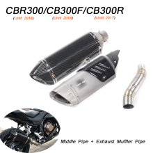 for Honda CBR300 CB300F CB300R Motorcycle Stainless Steel Middle Link Pipe 51mm Exhaust Muffler