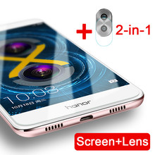 2-in-1 beschermende glas op de voor Huawei Honor 6X Mate 9 Lite GR5 2017 BLN-AL10 L21 BLL-L22 camera lens screen protector film(China)