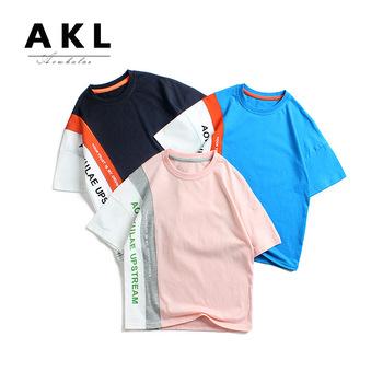 2020 lato koreański styl nowe produkty chłopięcy Top krótki rękaw zhong da tong kontrastowy kolor angielski drukowane dzieci krótki rękaw tanie i dobre opinie aowkulae O ku la Lettered Guangdong 3921