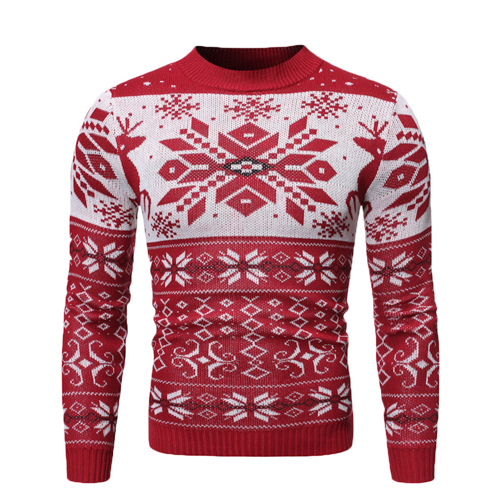 Men's Warm Pullover Christmas Print Knitted Sweater Blouse Tops S-XL Plus Size Autumn Winter Sueter Hombre Sweter Pullover Men