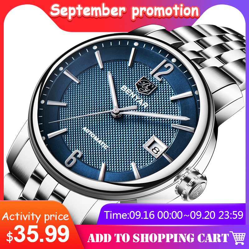 BENYAR New Top Brand Business Watch Men Automatic Mechanicl  Waterproof Stainless Steel Luxury Mens Watches Relogio Masculino