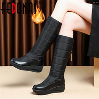 FEDONAS New Tassels Women Winter Warm Snow Boots Wedges High Heels Knee High Boots Female Long High Boots Platforms Shoes Woman