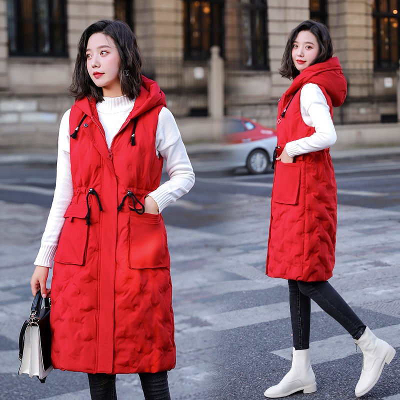 L-5XL Waistcoat Parka Autumn And Winter Women's Loose Sleeveless Jacket Hooded Down Cotton Mid-Length Padded Vest Top Coat y942