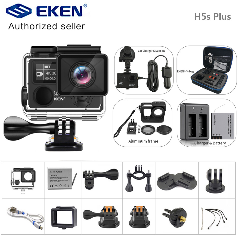 EKEN H5S Plus Action Camera Ambarella A12 chipset 30m waterproof 2.0' touch Screen 4K 30fps Utral HD EIS Helmet sport camera image