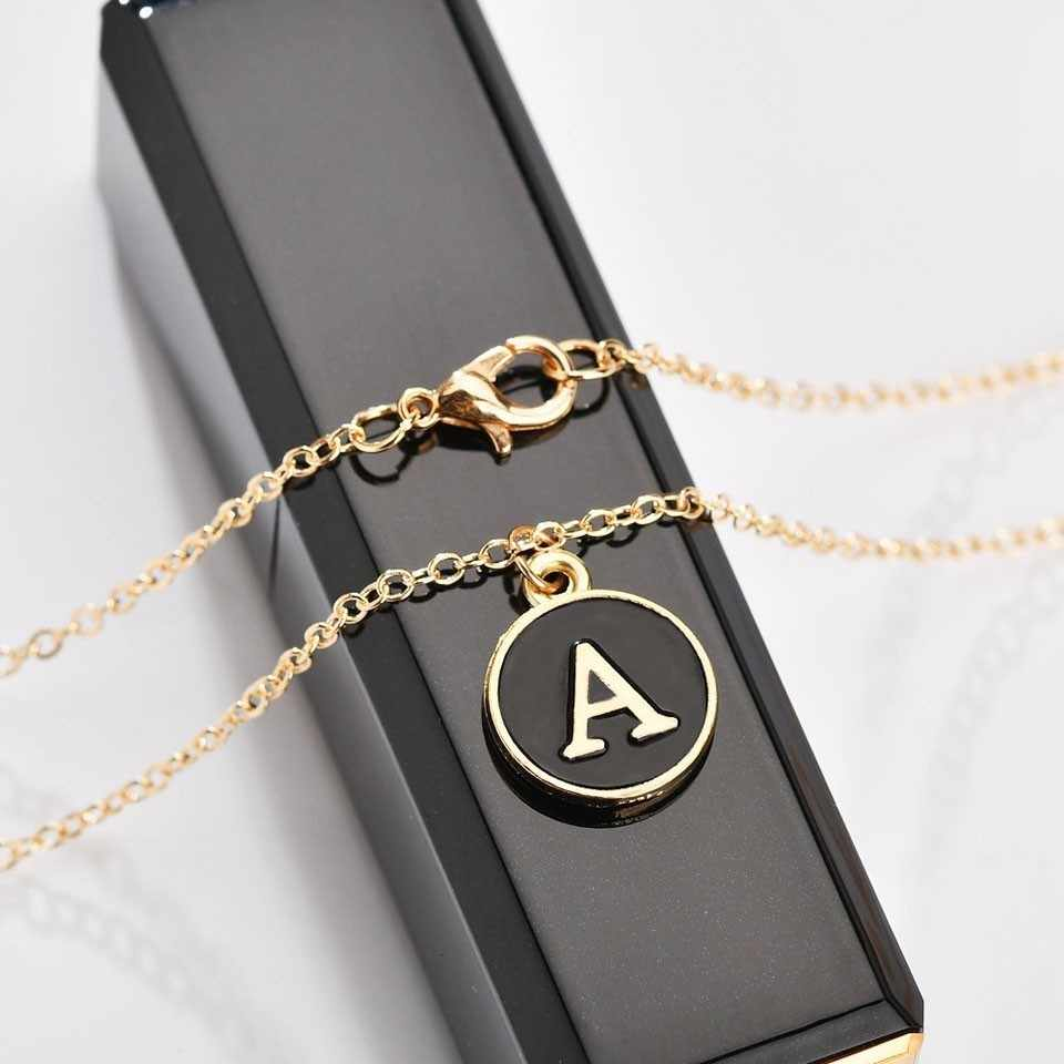 Na moda A-Z carta oco coração colar pingente para mulher corrente de ouro colares gargantilha minimalismo jóias colar casal jóias