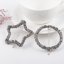 1 Pcs 2019 New Fashion Crystal Rhinestones Hairpin Star Triangle Round Shape Women Hair Clips Barrettes Hair Styling Accessories