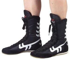 Auténticos zapatos de lucha libre para hombres, zapatos de entrenamiento, suela de músculo de vaca, botas con cordones, zapatillas profesionales de boxeo, zapatos D0557