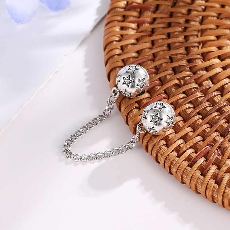 Hot 925 Sterling Silver Star Modello FAI DA TE Belle Perline Catena di Sicurezza Fit Band Originale Donne Pendenti E Ciondoli Braccialetto Monili Che Fanno