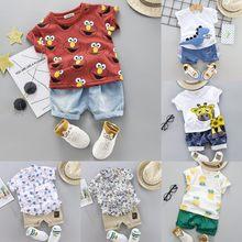 Bebek giyim moda bebek takım elbise bebek giyim seti Boys sevimli yazlık T-Shirt karikatür çocuk erkek takım elbise takım elbise çocuk giysileri