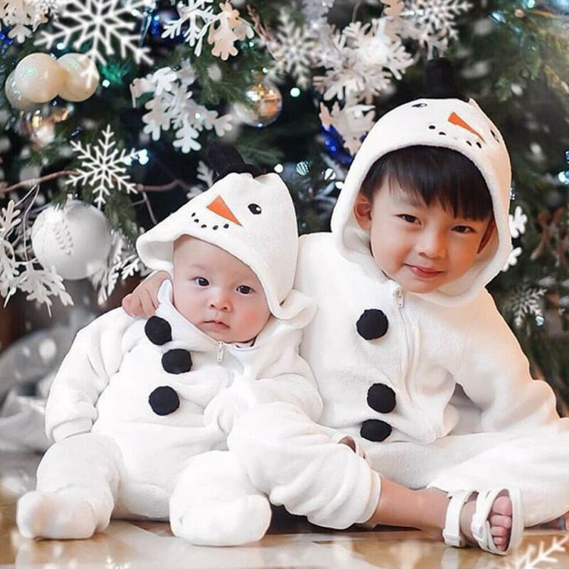 Cute Newborn <font><b>Baby</b></font> <font><b>Girl</b></font> Boy Fall Winter Fuzzy <font><b>Romper</b></font> Long Sleeve <font><b>Fleece</b></font> Snowman Jumpsuit Zipper <font><b>Baby</b></font> <font><b>Christmas</b></font> <font><b>Clothes</b></font> 0-3Y image