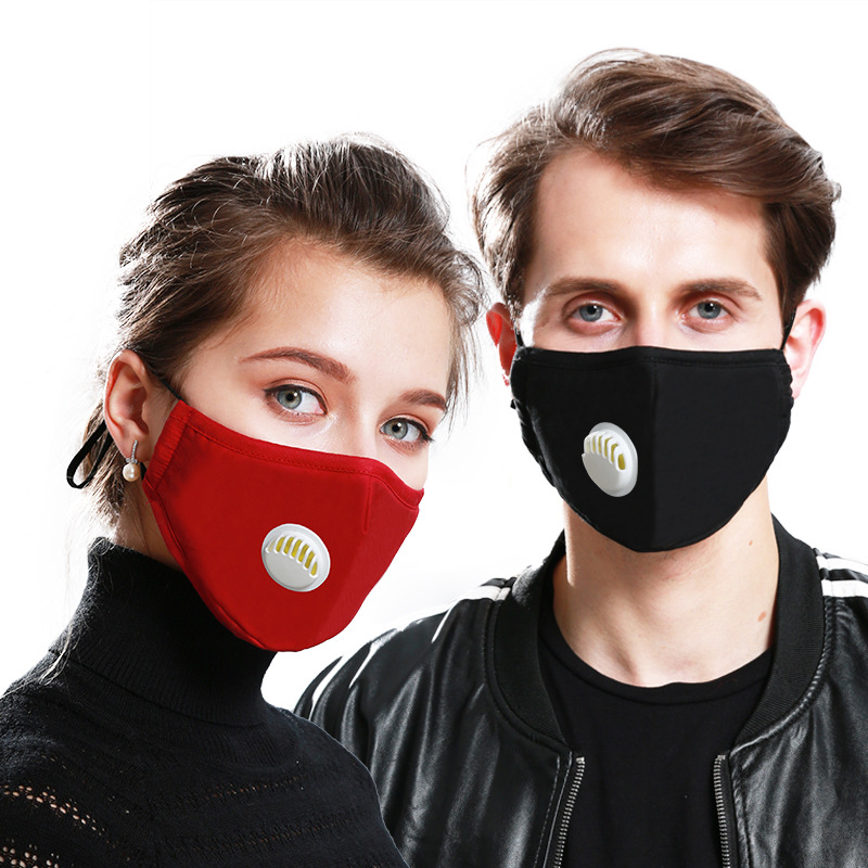 Fashion Unisex Cotton Anti-Dust Anti Pollution Masks Breath Valve PM2.5 Mouth Mask Cloth Activated Carbon Filter Respirator