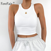 Forefair Off Shoulder Knitted Tank Tops Summer Woman Cami Out Street Sleeveless O Neck Basic Sexy Crop Tops Women