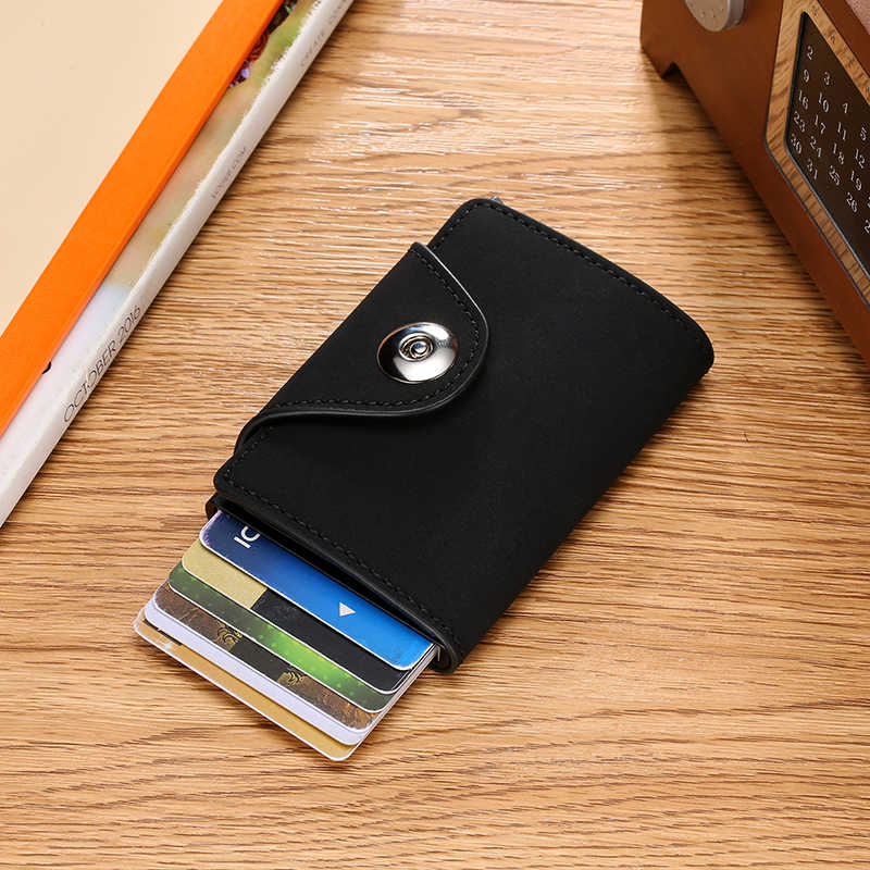 DIENQI Rfid Anti-magnetic Credit Card Holder Men Security Wallet Aluminium Protection Male Business Cardholder Case Slim Purse