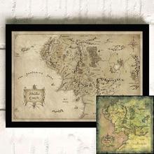 Mapa de la Tierra Media/Señor de los anillos cartel de película papel fotográfico Vintage póster pared arte imagen para sala de estar ZS198