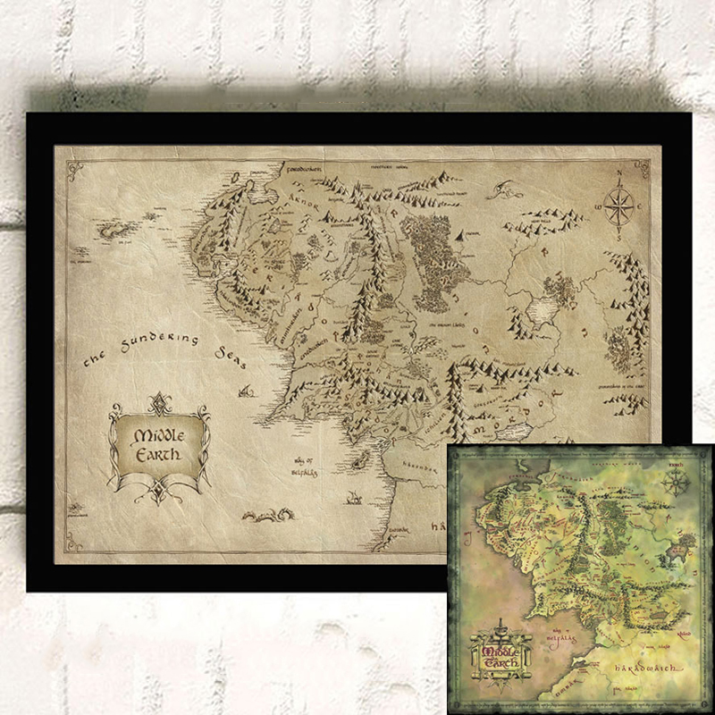 Middle Earth Map/Lord of the Rings Movie Poster Photographic Paper Vintage Poster Wall Art Picture For Living Room ZS198 image