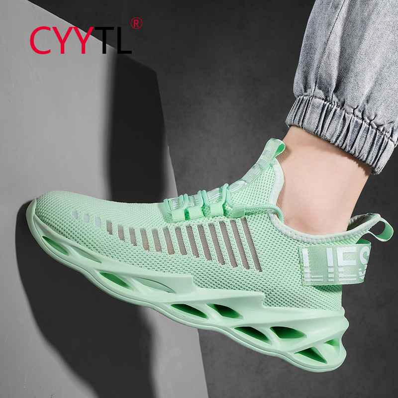 CYYTL 2020 Mesh Men Sneakers Casual Shoes Lace-up 5cm Green Lightweight Comfortable Tenis Breathable Walking Zapatillas Hombre
