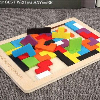 צבעוני 3D פאזל עץ טנגרם מתמטיקה צעצועי טטריס משחק ילדים טרום בית הספר Magination רוחני חינוכי צעצוע לילדים 3