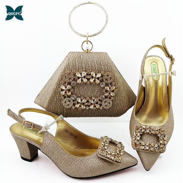 2020 New Arrival Gold Color Italian design Shoes with Matching Bags Set Decorated with Rhinestone Nigerian Women Wedding Shoes