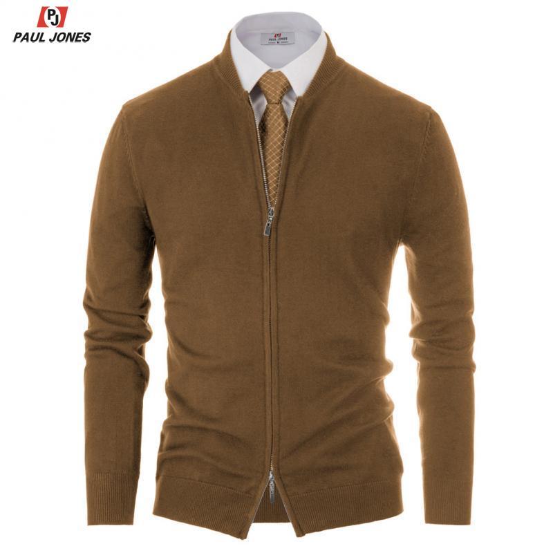 Мужская Трикотажная куртка на молнии PAUL JONES, Кардиган с длинным рукавом и воротником стойкой, однотонный мягкий вязаный свитер, верхняя одеж