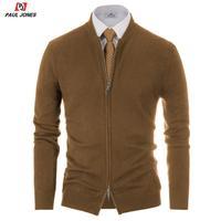PAUL JONES Men Two Way Zipper Knitted Jacket Coat Long Sleeve Stand Collar Sweater Cardigan Solid Soft Knit Sweater Coat Outwear