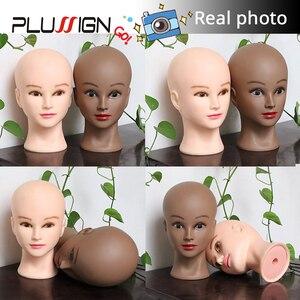 Image 5 - Plussign 20,5 дюйма голова манекена для париков с подставкой, лысый парик с подставкой, пенная головка для макияжа белого и темно коричневого цвета