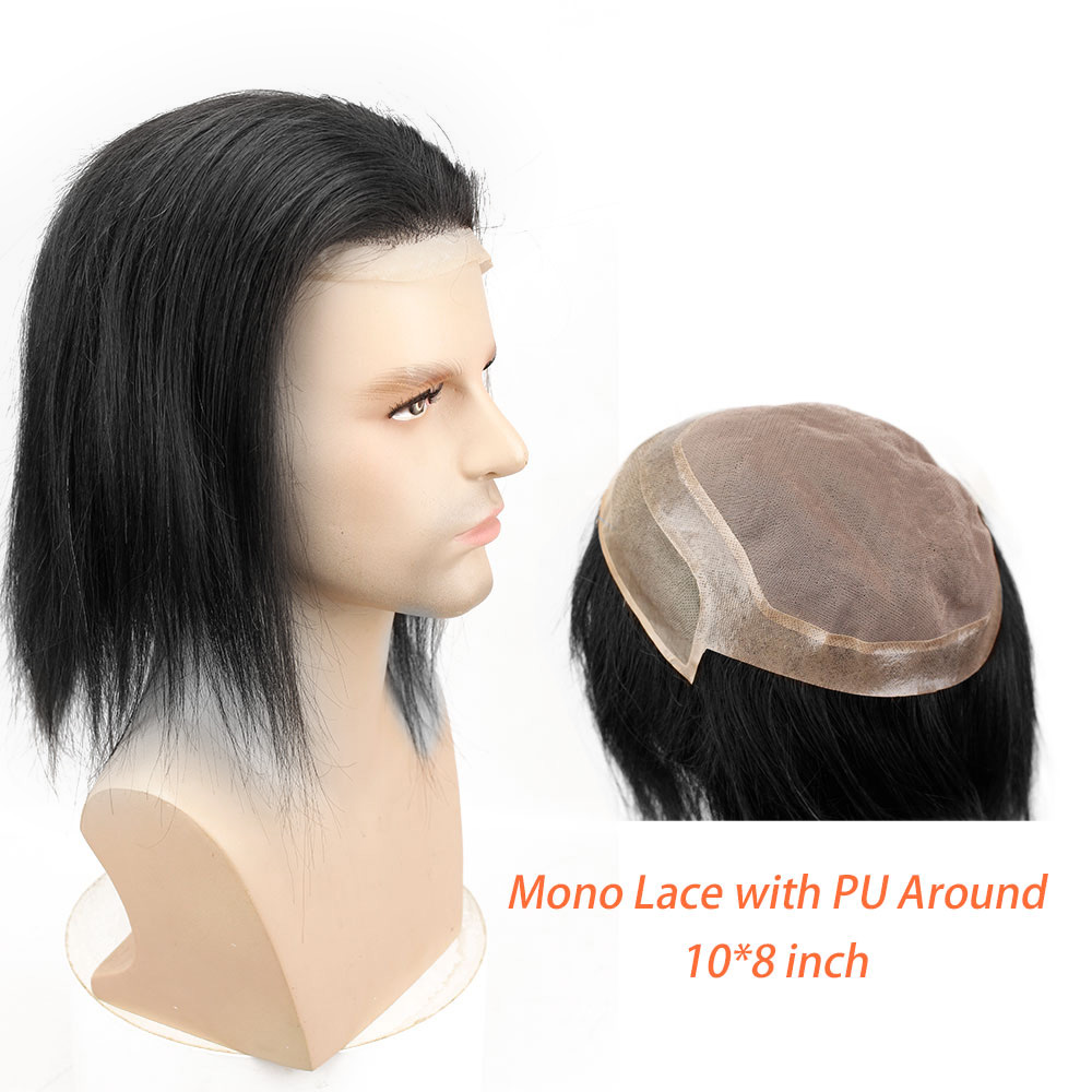 12 Long Mens Toupee Hairpiece Mono Lace With PU Replacement Men Toupee Wig Straight Brazilian Remy Human Hair 10 x 8 Toupees - 2
