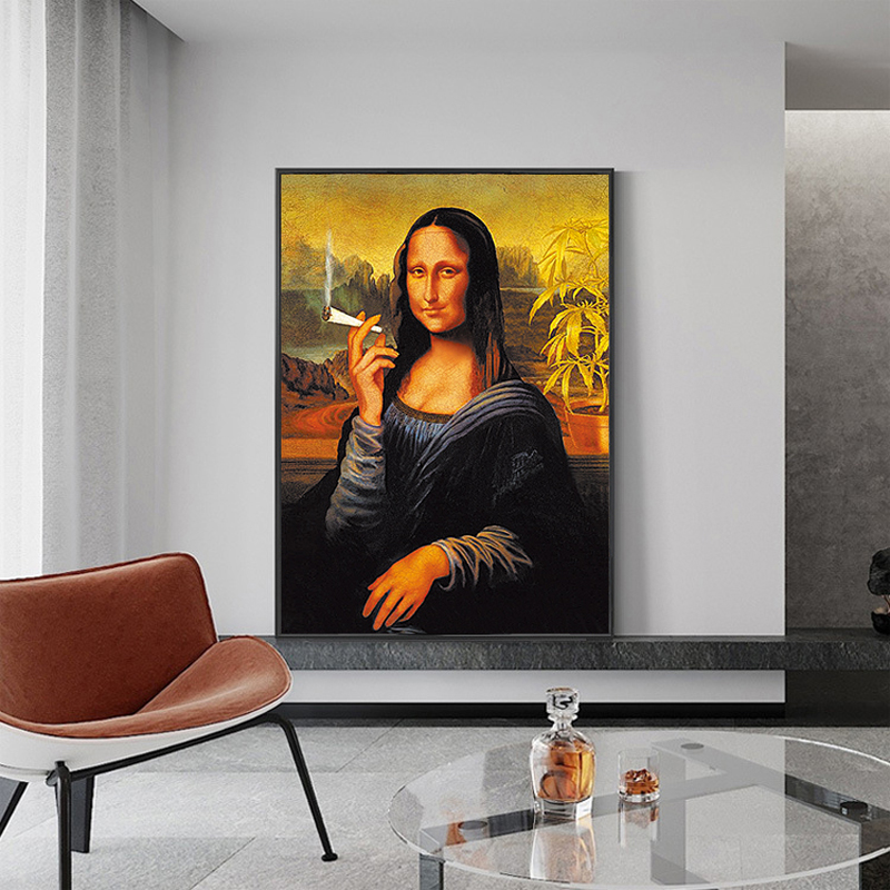 Funny Smoking Mona Lisa Oil Painting Famous Posters and Prints on Canvas Decoration Wall Art Picture for Living Room Home Decor(China)
