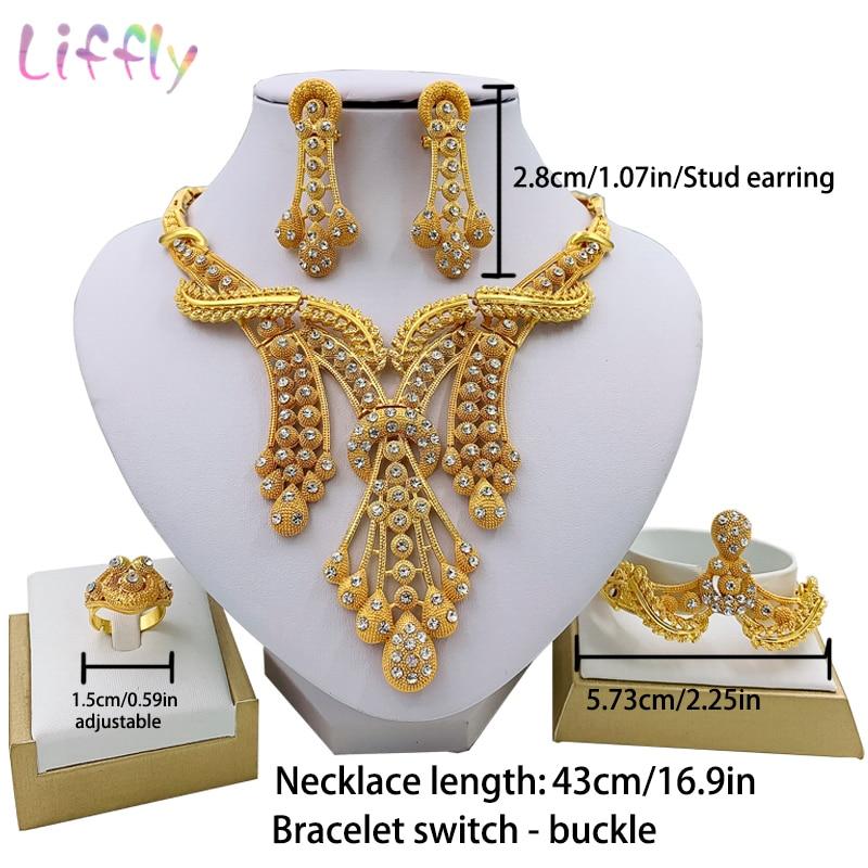 LIFFLY Dubai Jewelry Sets Big Necklace Classic Water Drop Shape Bracelet Earrings Ring for Women Wedding