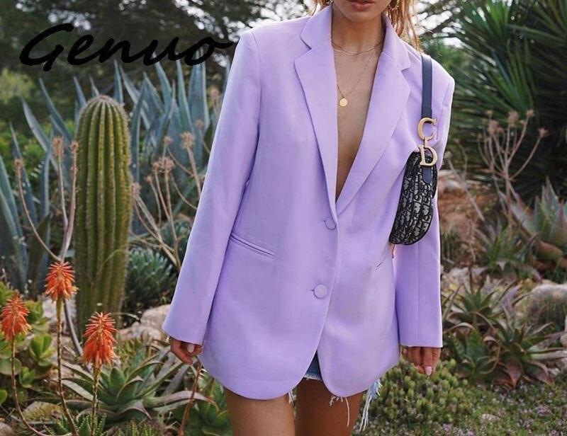 Genuo Fashion Office Lady Blazers Long Sleeve Casual Solid Violet Jakets 2019 Autumn Winter V Neck Basic Slim Women Blazer