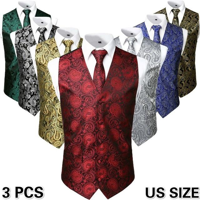 3pc Sets/Mens Suit Vest+Tie+Pocket Square/Fashion Jacquard Paisley Tuxedo Vest Waistcoat Men/Wedding Vest/Prom Vest/Party Vest