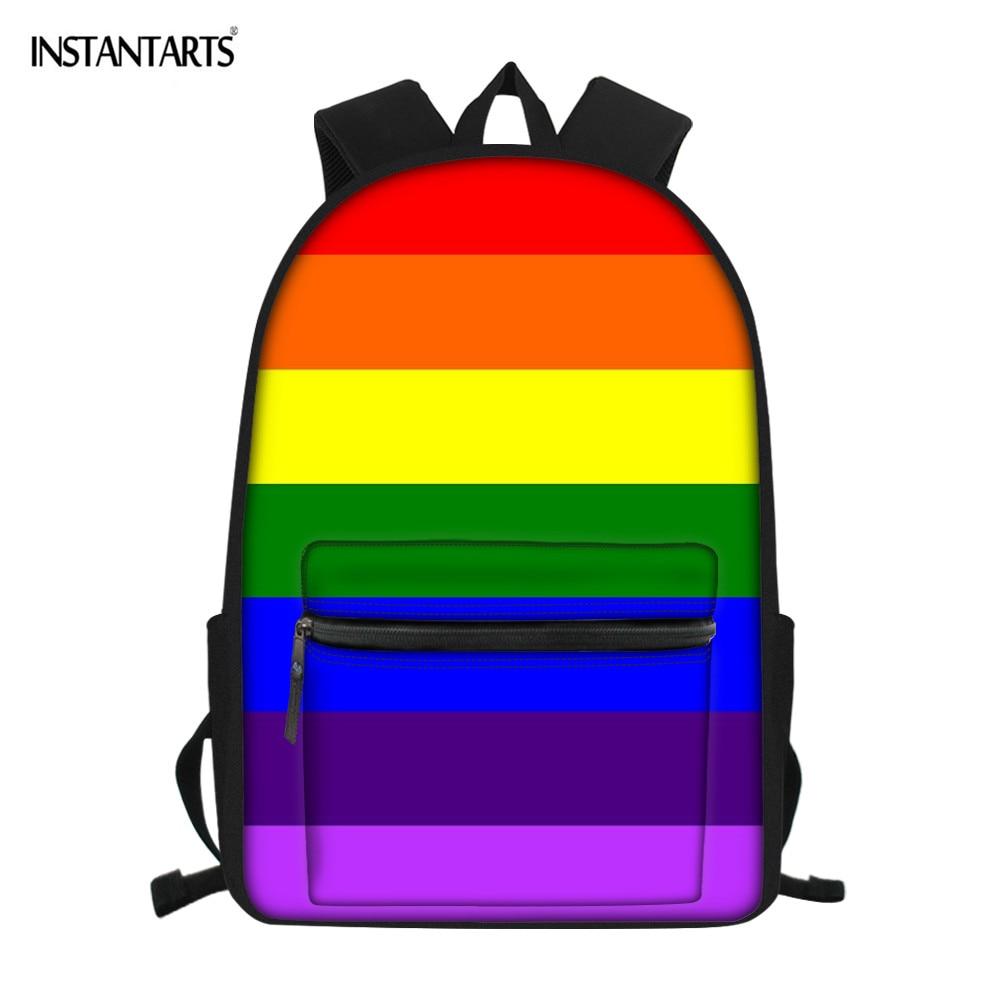INSTANTARTS Colorful Rainbow Print School Bags For Kids Big Capacity Shoulder Backpack Creat Your Schoolbags Book Bag Boys Girls