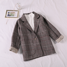 Gagarich Casual Classic Office Lady Plaid Women Jacket Blazer Double Breasted Notched Collar Pockets Loose Jackets Female