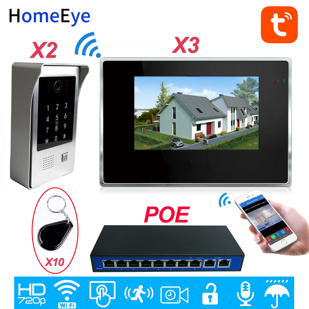 TuyaSmart App Wifi Video Door Phone SIP Video Intercom System Touch Screen Code Keypad/IC Card Security Unlock Access Control
