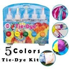 5 Colors Tie Dye Kit Non Toxic DIY Clothing Graffiti Fabric Textile One-Step Tie-Dye Kit DIY Design Safe Dyes Fun DIY Hot Sale