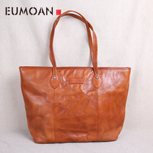 EUMOAN Leather handbag big bag first layer cowhide simple tote soft leather retro art large capacity shoulder shopping