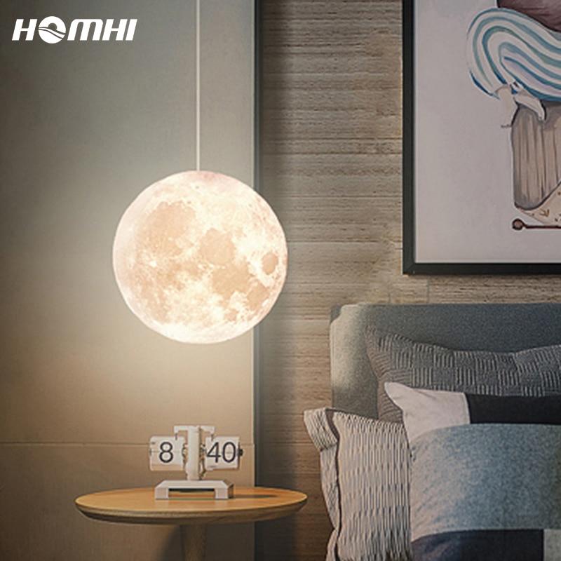 Moonpendantlight Globe Bedsidelamp Shade Bedroom Deco Chambre Fille Bebe Creche Chandelier Children Planetarium Kids Room
