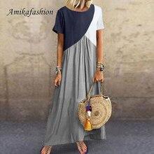 5xl Vintage Short Sleeve Patchwork Long Dress Loose Casual Plus Size Retro Maxi Dresses Women Summer Round Neck Beach Dress 2019 цена
