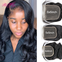 Lace Closure Human-Hair Body-Wave Transparnt Pre-Plucked Brazilian 4x4 5x5 HD with Baby