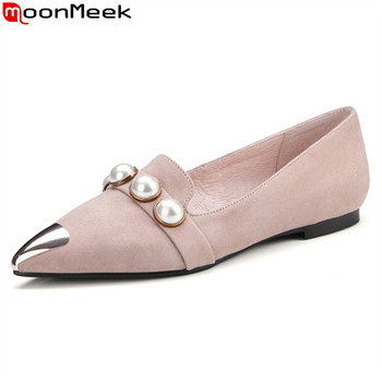 MoonMeek 2020 new arrive fashion women flats genuine leather black apricot ladies shoes sweet comfortable shoes woman