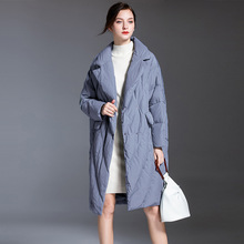 Winter Jacket Women Duck Down Coat 2020 Thick Warm Long Parka Female Loose Turn Down Collar Ladies Outerwear Overcoats Big Size cheap Solid WF5749 1 2kg Vintage Lace Ages 35-45 Years Old Covered Button White duck down Full Polyester Thick (Winter) Broadcloth