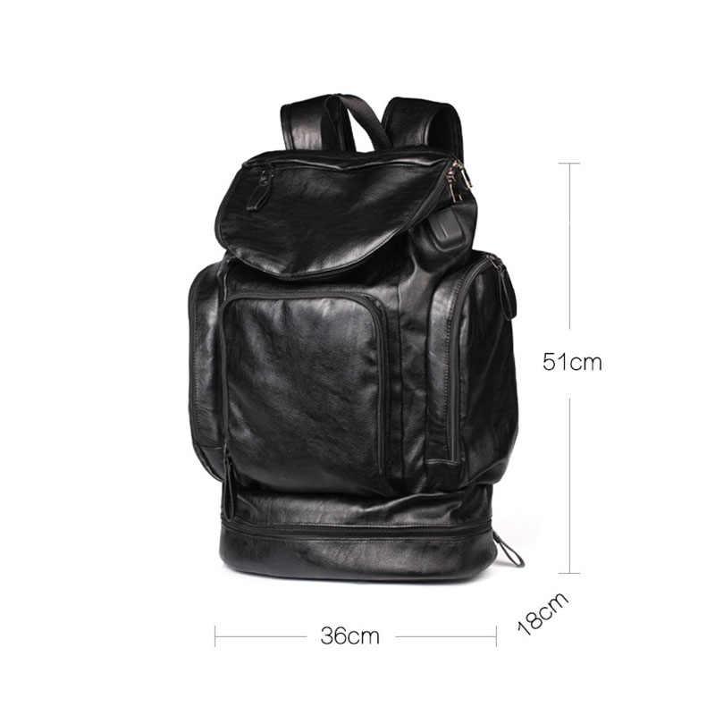 Scione مقاوم للماء على ظهره الرجال بولي Leather حقيبة جلدية السفر حقيبة مدرسية عادية الذكور وظيفية سعة كبيرة Bookbag