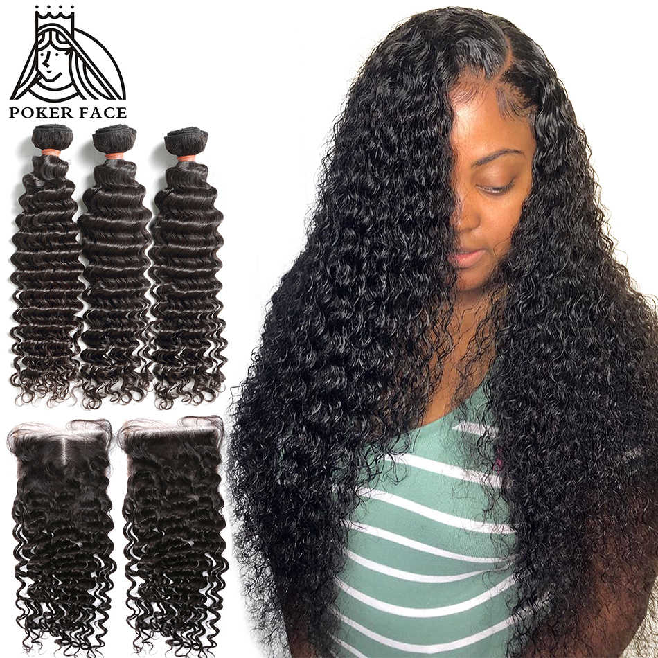 8-28 30 Inch Deep Wave Bundles With Closure Brazilian Remy Curly 100% Human Hair Water Wave 3 4 Bundles Weave And Lace Closure