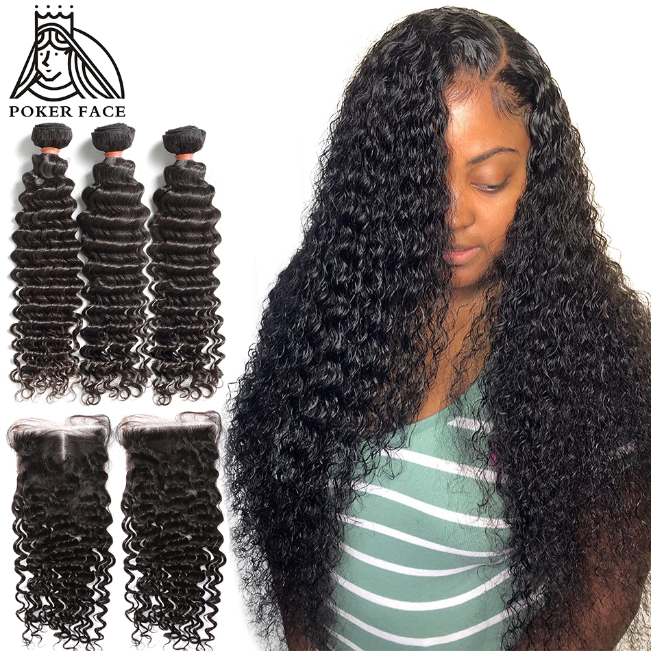 28 30 40 Inches Deep Wave Bundles With Closure Brazilian Curly 100% Human Hair Water Wave 3 4 Bundles Weave And Lace Closure