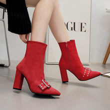 BYQDY Autumn Winter Sexy Ankle Red Boots Women Shoes Pointed Toe Thick High Heels Bootas Zipper Chelsea Cowboy